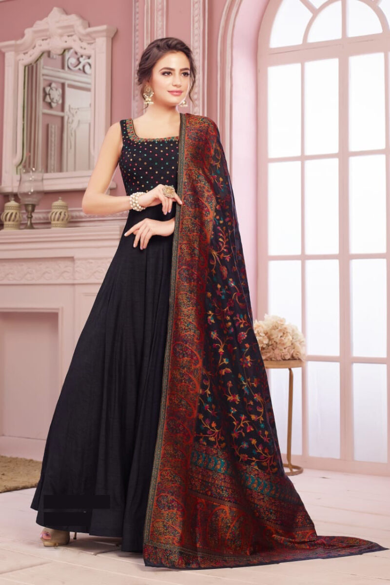 black anarkali indian gown