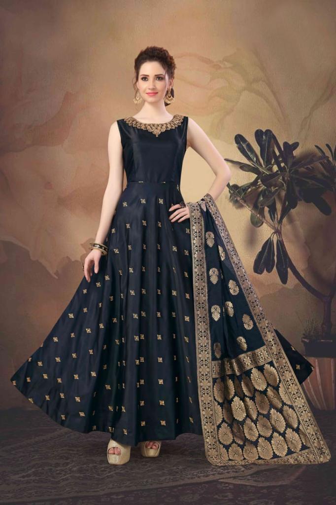 black blue wedding gown indian