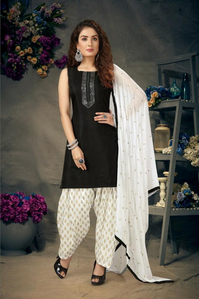 black white salwar suit