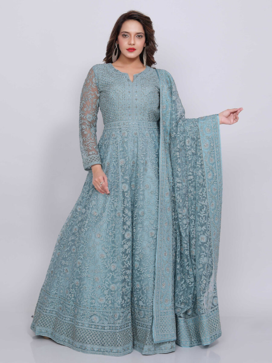 blue wedding gown for indian wedding