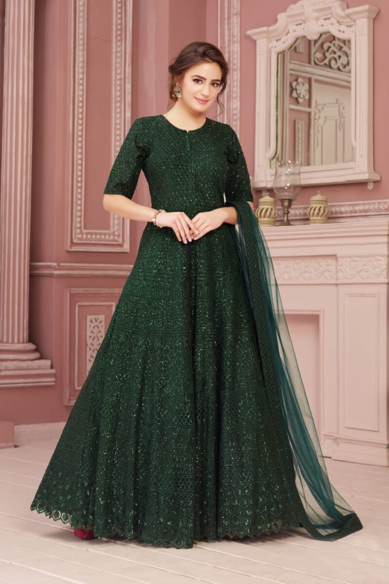 dark green embroidered indian gown