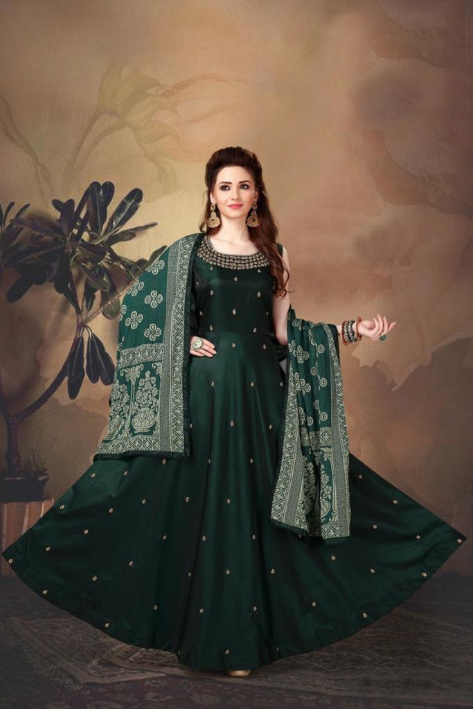 dark green indian gown