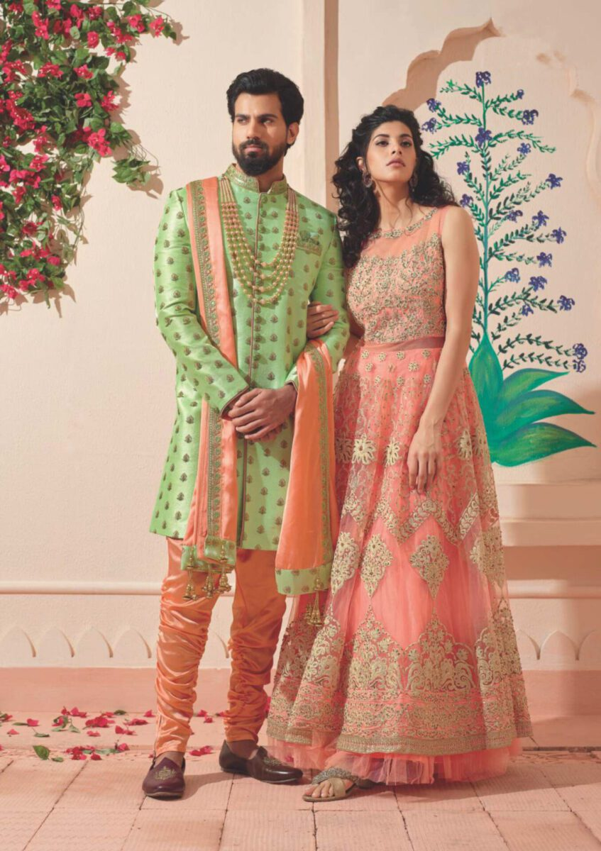 green-peach-Indo-western-suit
