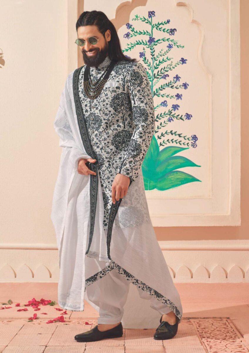 grey-Indo-western-salwar-suit-for-men