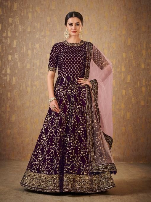 heavy embroidered wedding gown for indian women