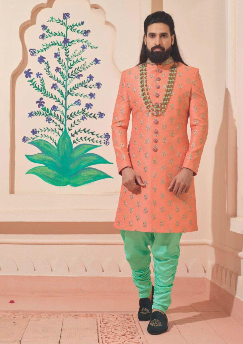 peach-green-Indo-western-sherwani
