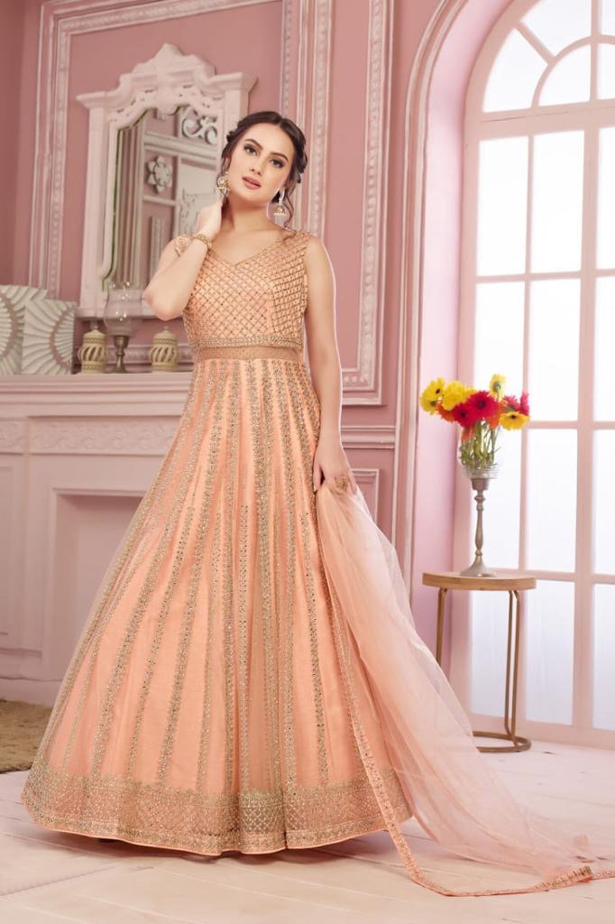 peach indian gown