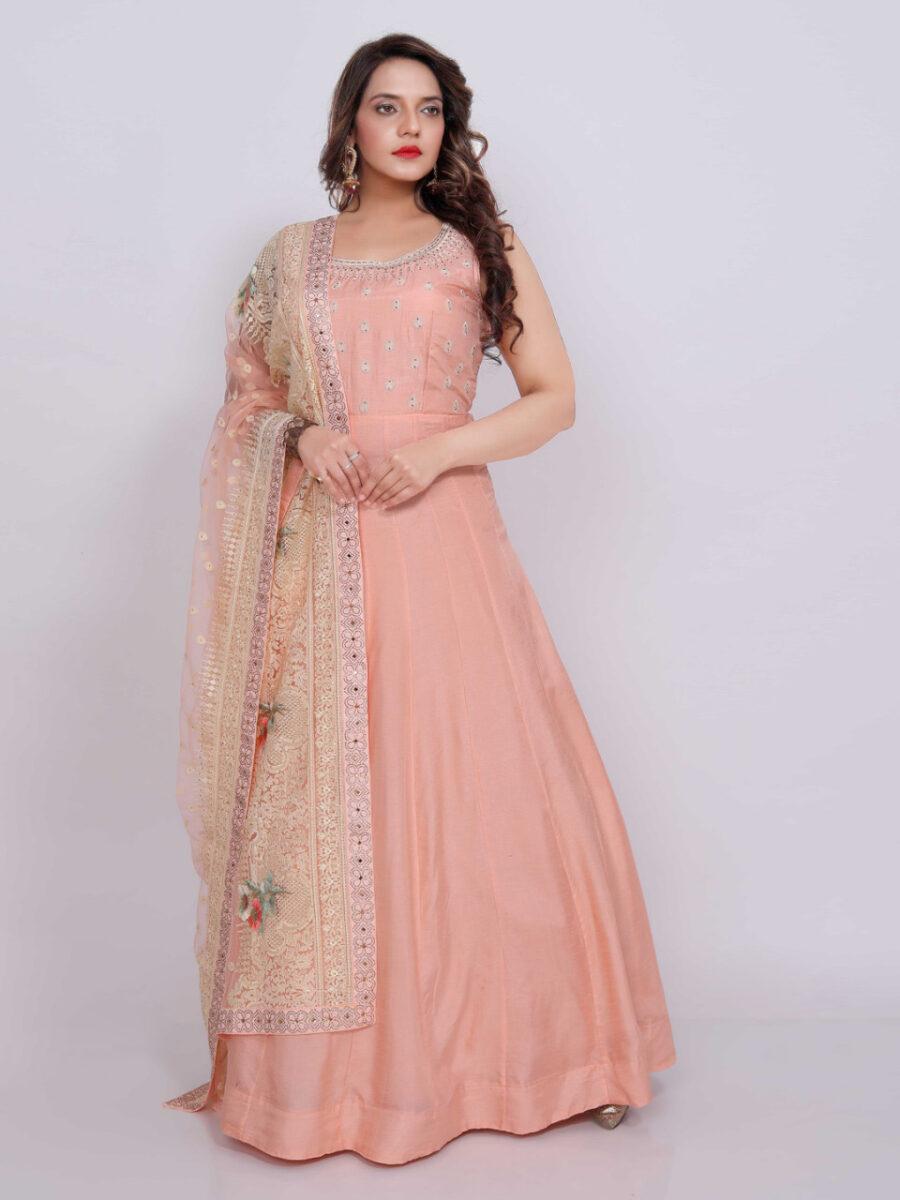 peach indian wear gown