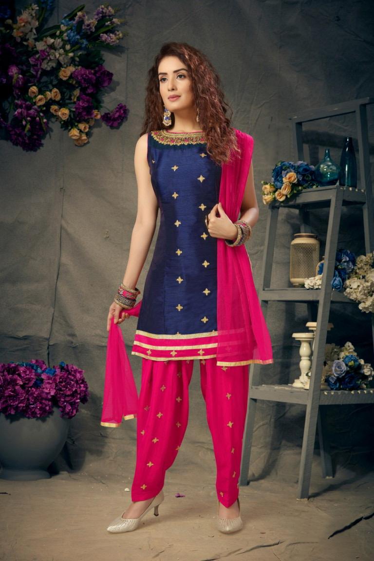 pink blue salwar