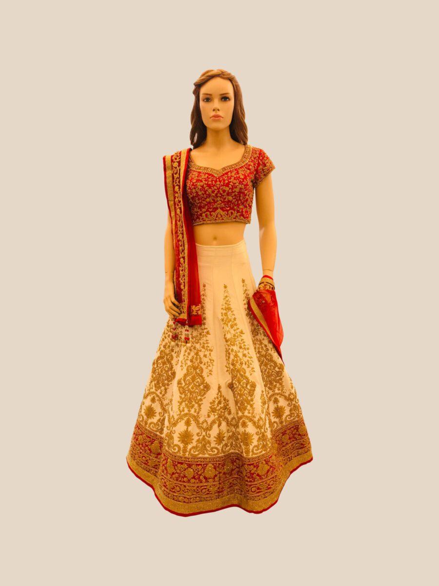 red and cream bridal lehenga