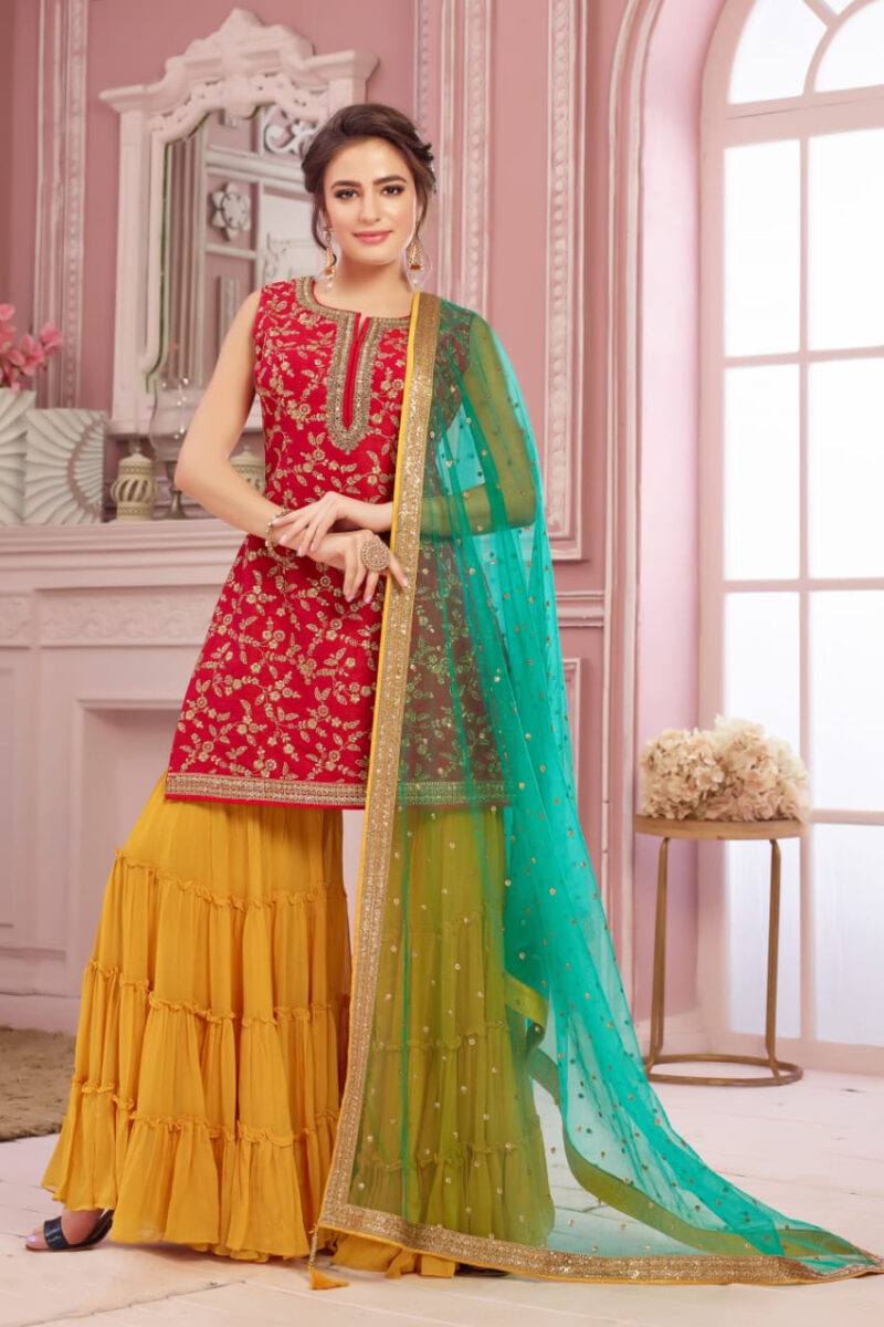 red suit with yellow sharara
