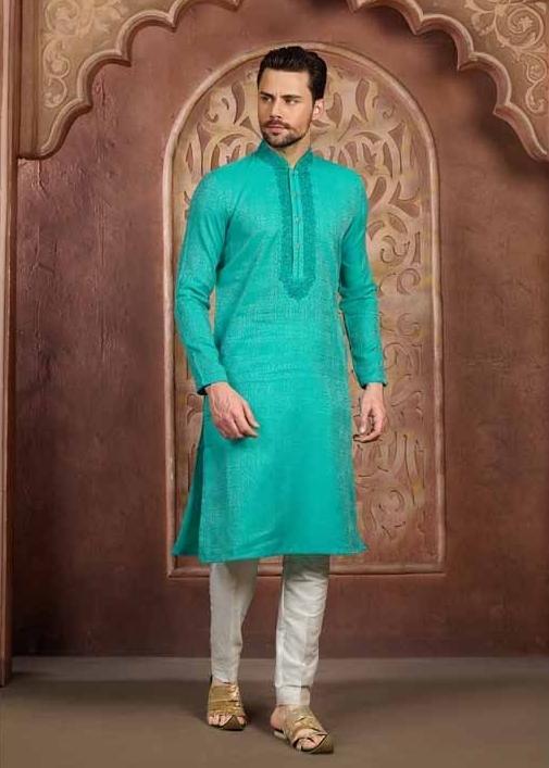 sea green kurta pyjama for men