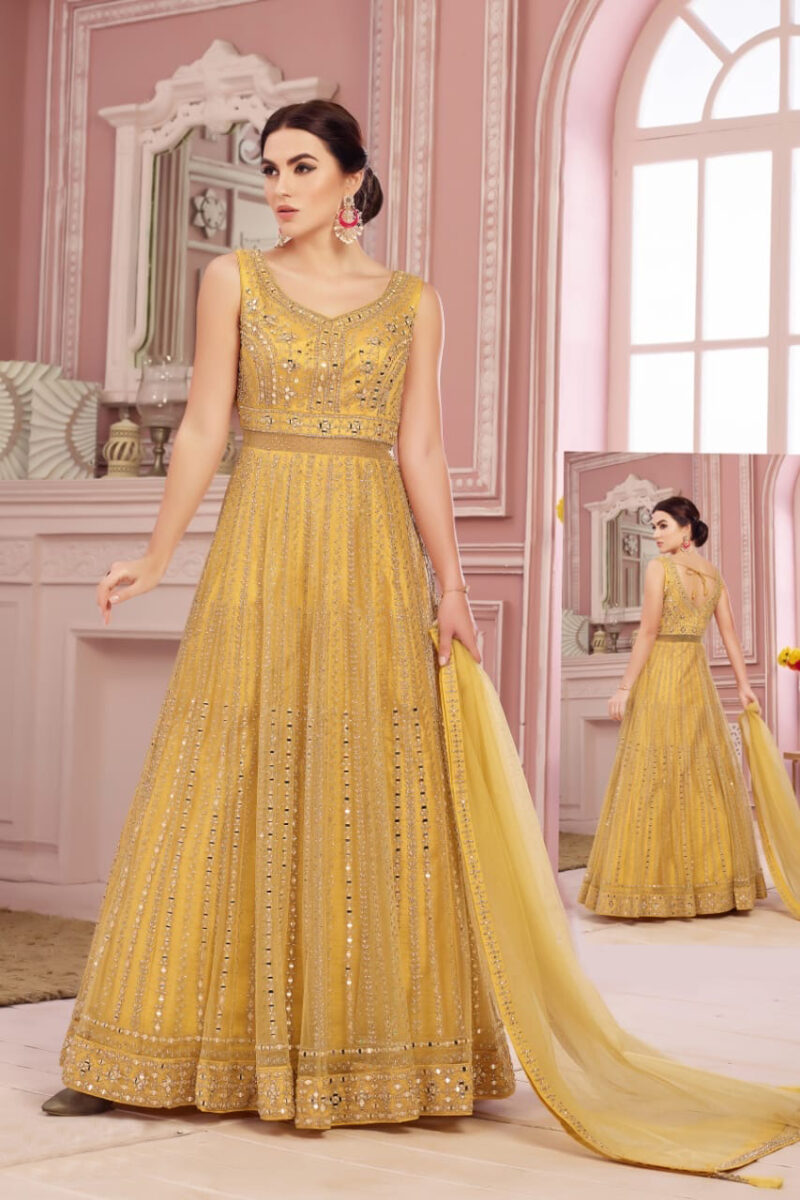 yellow anarkali gown new jersey