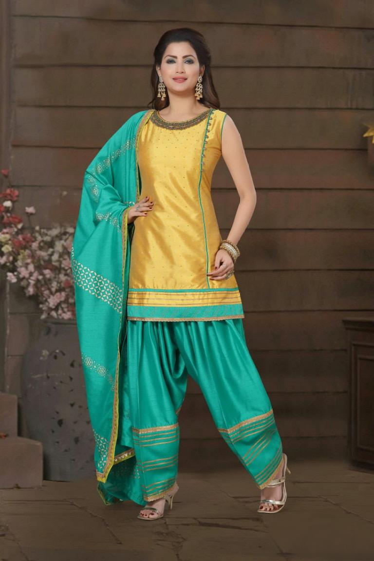 yellow green salwar suit