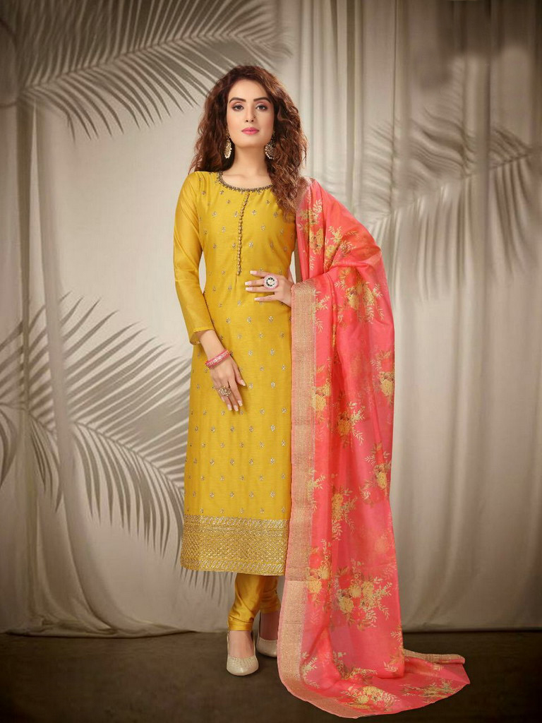 yellow long straight suit