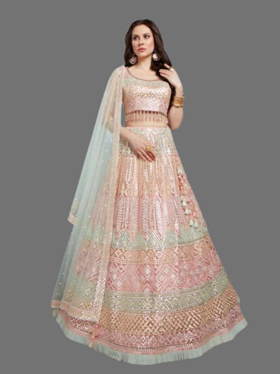 Fashion Queen Bridal Lehenga in Pastel Shade