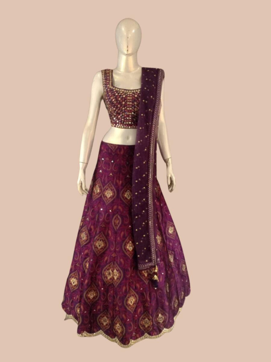 Purple bridal lehenga by Fashion Queen NJ