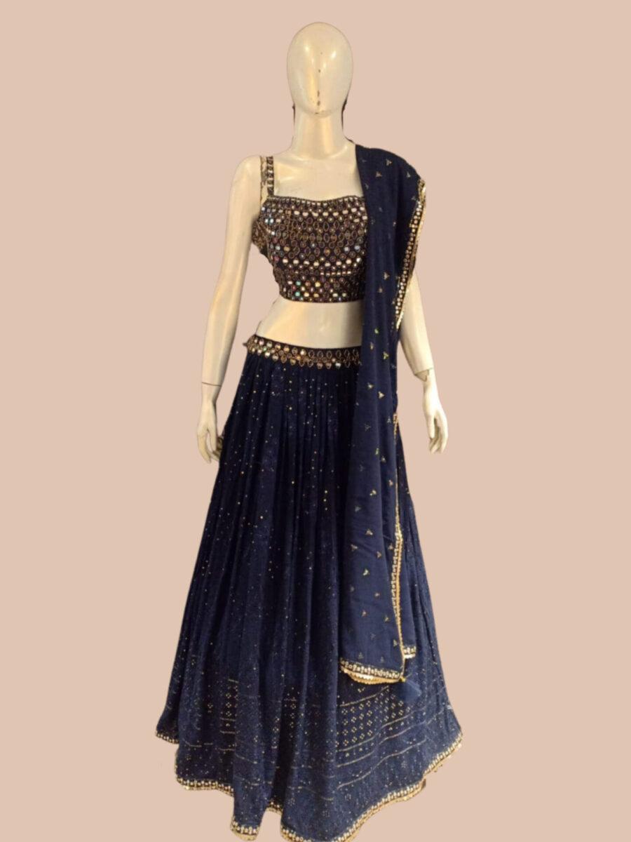 Blue Bridal Lehenga by Fashion Queen Bridal NJ