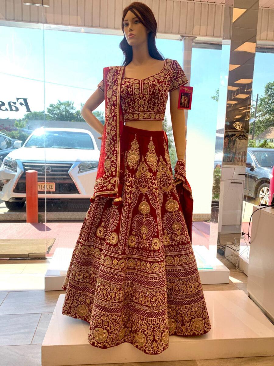 red bridal lehenga by fashion queen